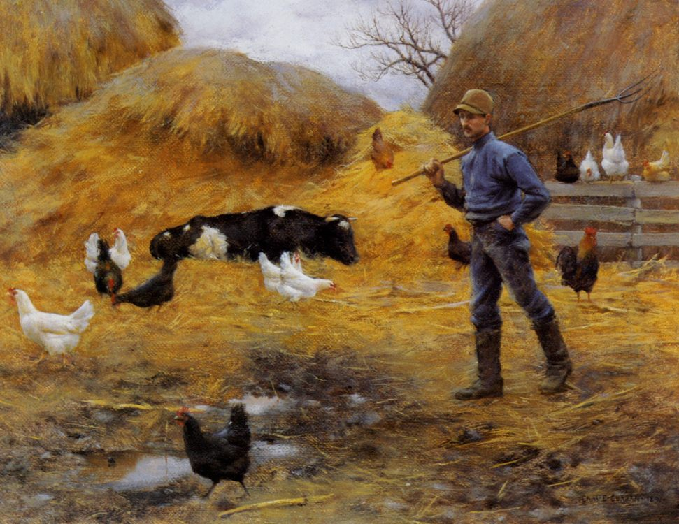 In The Barnyard :: Charles Courtney Curran - village life - paintings - masterpieces of art