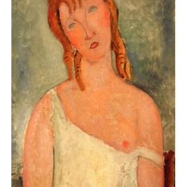 "Modigliani Amedeo, ""Jeune fille assise en chemise 1918"""