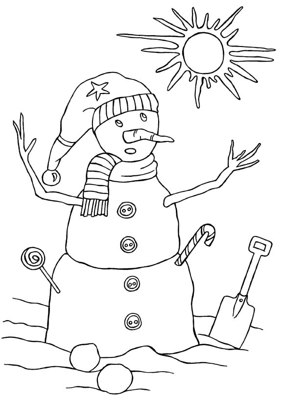 Snowman afraid of the sun coloring in picture for kids.