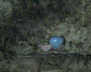 still life painting blue pot