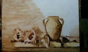 under painting sepia tones