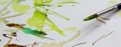 painting green watercolor