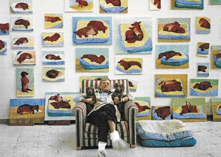 David Hockney with his dachshunds, Stanley and Boodgie.
