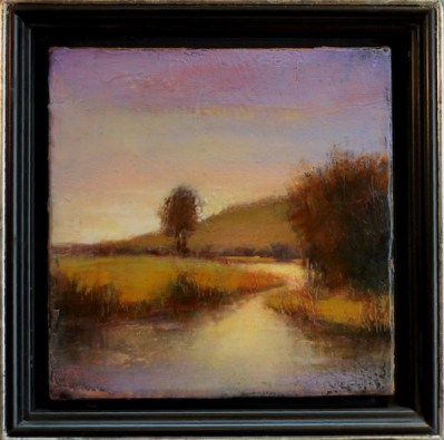 """˙©2013 LMcNee """"Spring On Silver Creek"""" 8x8 encaustic/oil"""