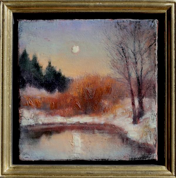 "©2013 LMcNee ""Winter Moon"" 8x8 encaustic/oil"