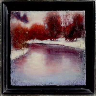 "©2013 LMcNee ""Winter Reflections"" 8x8 encaustic/oil"
