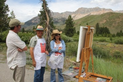 plein air painting in front of live audience