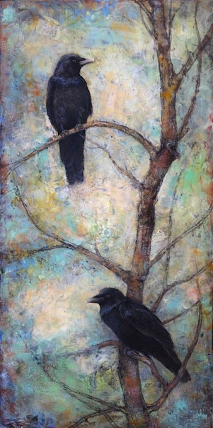 encaustic painting, ravens