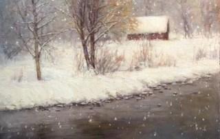 "©2016 LMcNee ""Snowy Day"" 20x20 oil"
