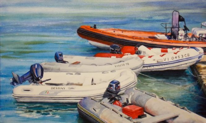 watercolor painting colorful dingy boats