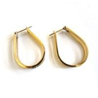 Large 14K Yellow Gold Teardrop Shaped Hoop Earrings ...
