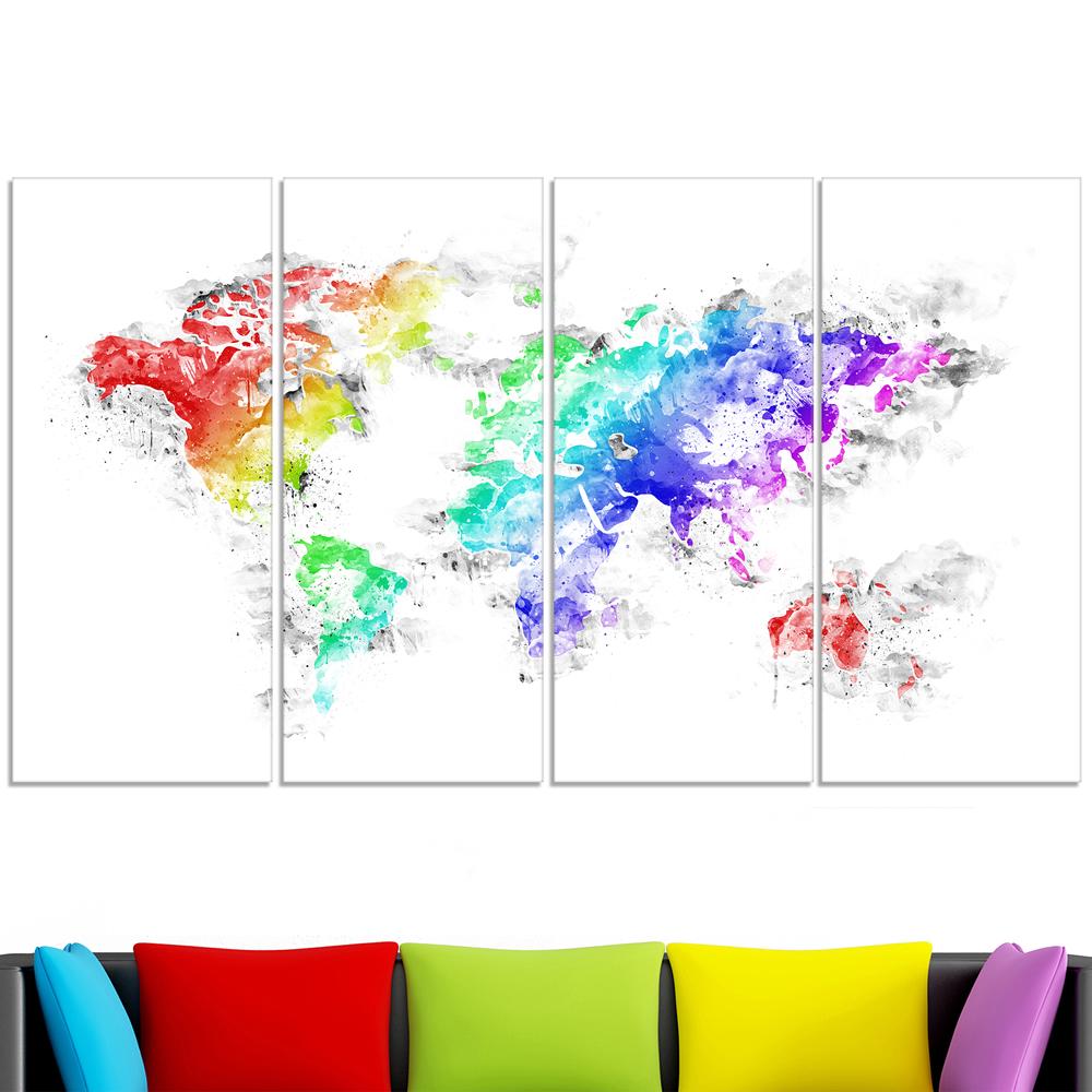 bright world map canvas