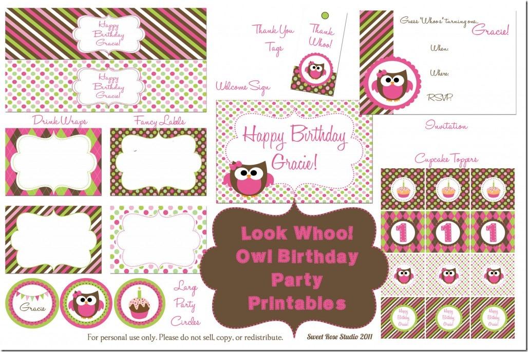 Owl Birthday Party Free Printables