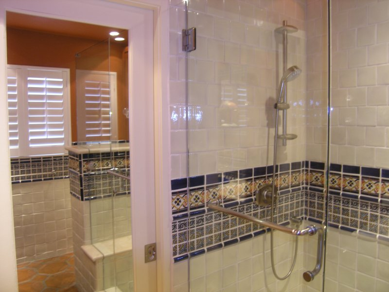 Mexican Tile Liner In A Bathroom Shower Area Mexican Home Decor Gallery Mission Accesories