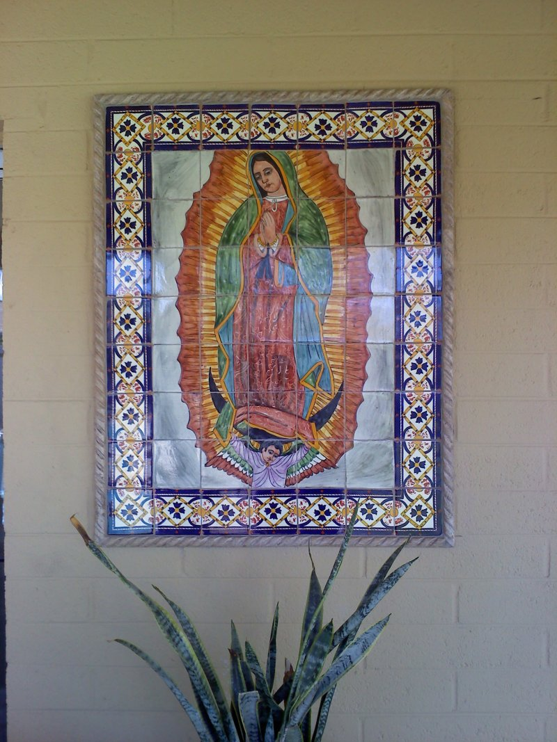 Our Lady Virgen De Guadalupe Mexican Tile Mural Mexican Home Decor Gallery Mission Accesories