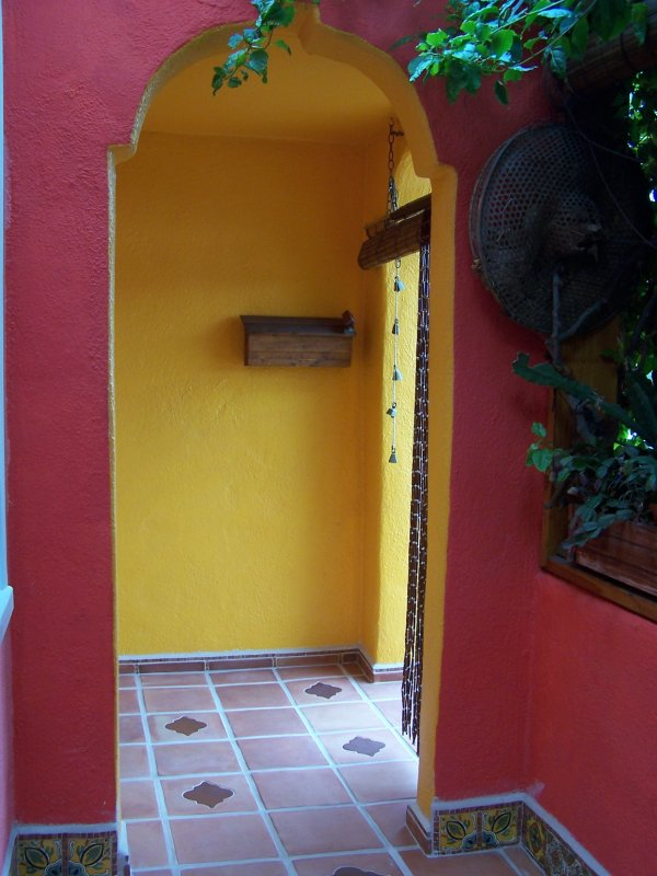 Inserts Into Saltillo Fllor Tile At Main Entrance Mexican