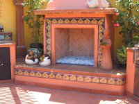Outdoors Fireplace Decorated Using Mexican Tile, Mexican ...