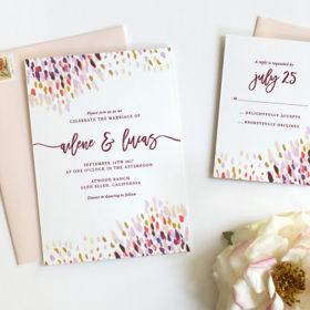 Abstract Dot Wedding Invitations Plum C