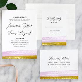 Brushstroke Wedding Invitation Lavender Ochre
