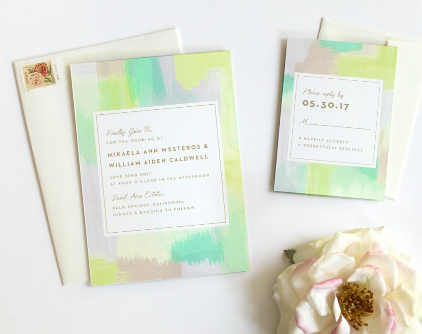 Modern Watercolor Wedding Invitations By Fine Day Press Austin Texas