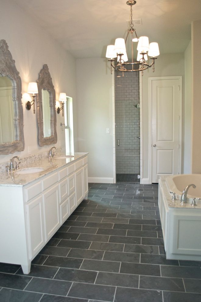 white tufted chair pool floats bannister custom homes with bathroom also bevel subway tile in shower ...