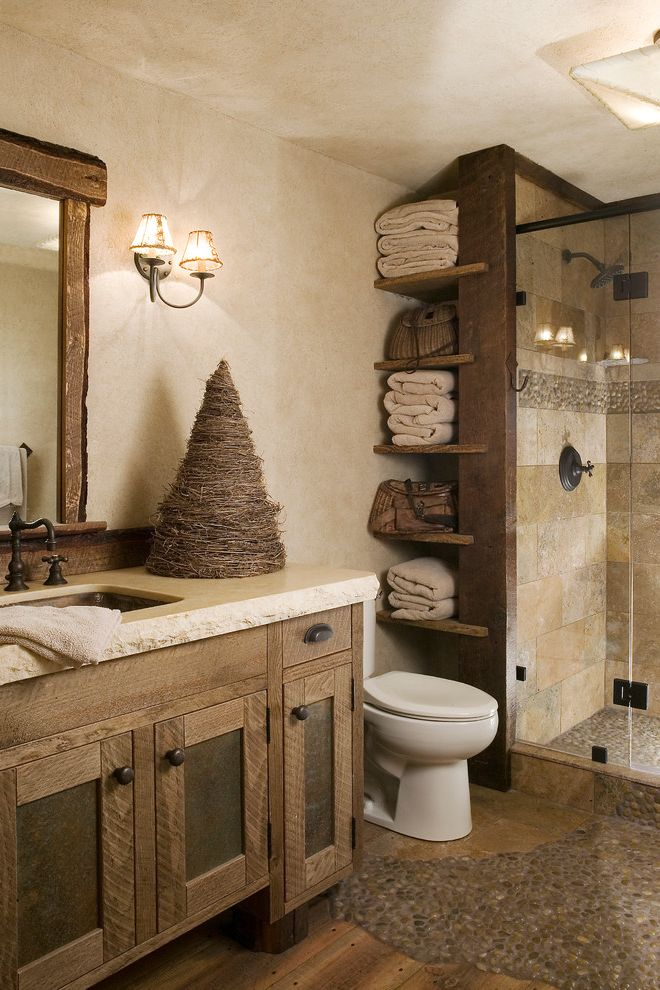 Bathroom Vanities Near Me For Rustic Bathroom And Beige Countertop Ceiling Light Found Wood Framed Mirror Open Shelves Pebble Tile Reclaimed Wood Wall Sconce Finefurnished Com