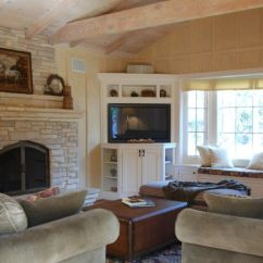 Media Chest For Living Room Mirror Corner Traditional And Board Batten Walls Cathedral Ceiling Cabinet Cottage Style Stone Fireplace