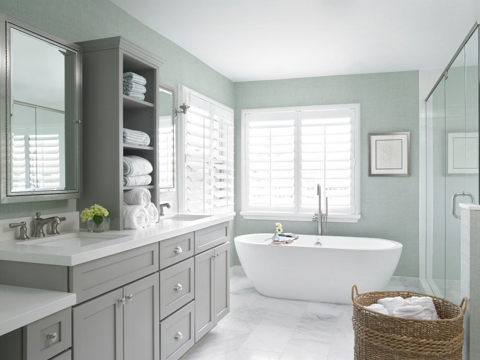 Countertops Jacksonville Fl Beach Style Bathroom And Countertop Cabinet Double Sink Vanity Mirrored Medicine Cabinet White Countertop White Floor Tile White Shutters Widespread Faucet Finefurnished Com