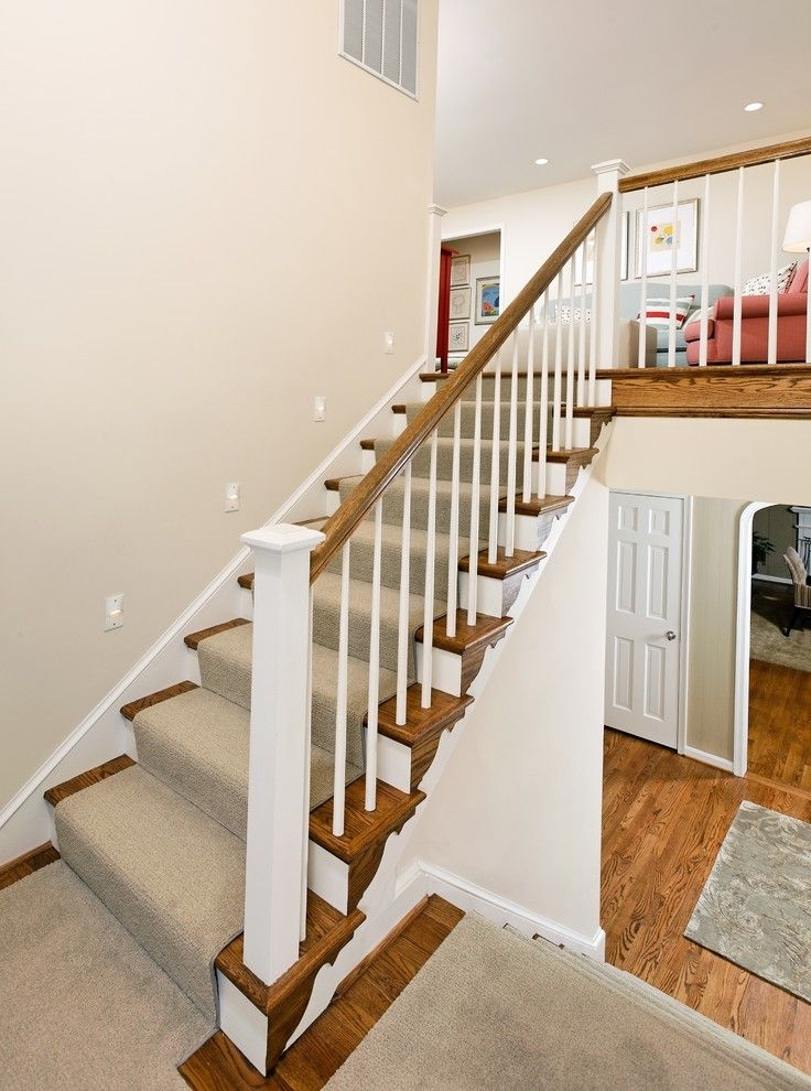 Deans Carpet With Traditional Staircase And Banister Carpet Runner   White Wood Stair Railing   Timber White   Build Stair   Metal   Glass   Before And After