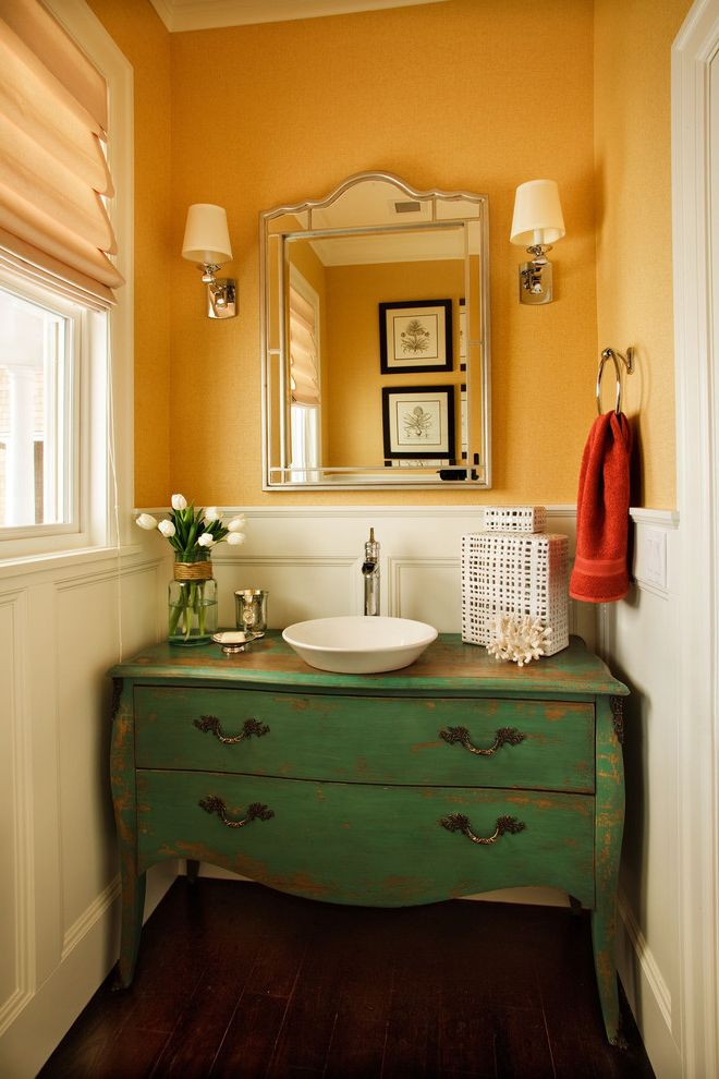 Home Depot Bathroom Vanity Sink Combo Traditional Powder Room Also Bathroom Mirror Chest Converted To Sink Vanity Distressed Finish Rustic Sconce Small Bathroom Vessel Sink Wainscoting Wall Lighting White Wood Wood Molding