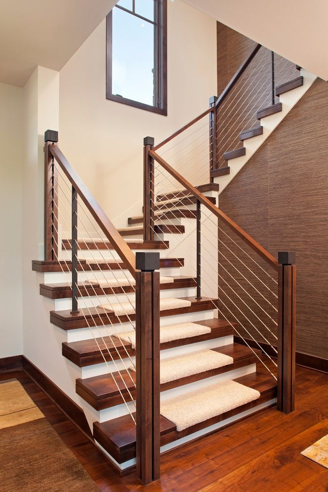 How Much Does It Cost To Carpet Stairs For Contemporary Staircase   Painted Stairs With Carpet Treads   Carpet Covered   Bare Wood   Design   Carpeting   Charcoal Grey