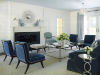 Navy Blue Velvet Chair Traditional Living Room Also Blue ...
