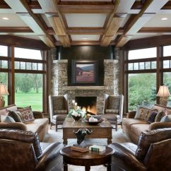 Living Room Wingback Chairs Bed Bath And Beyond Wing Chair Covers Serta Recliners With Rustic Clerestory Windows Coffered Ceiling Dark Wood Beams ...