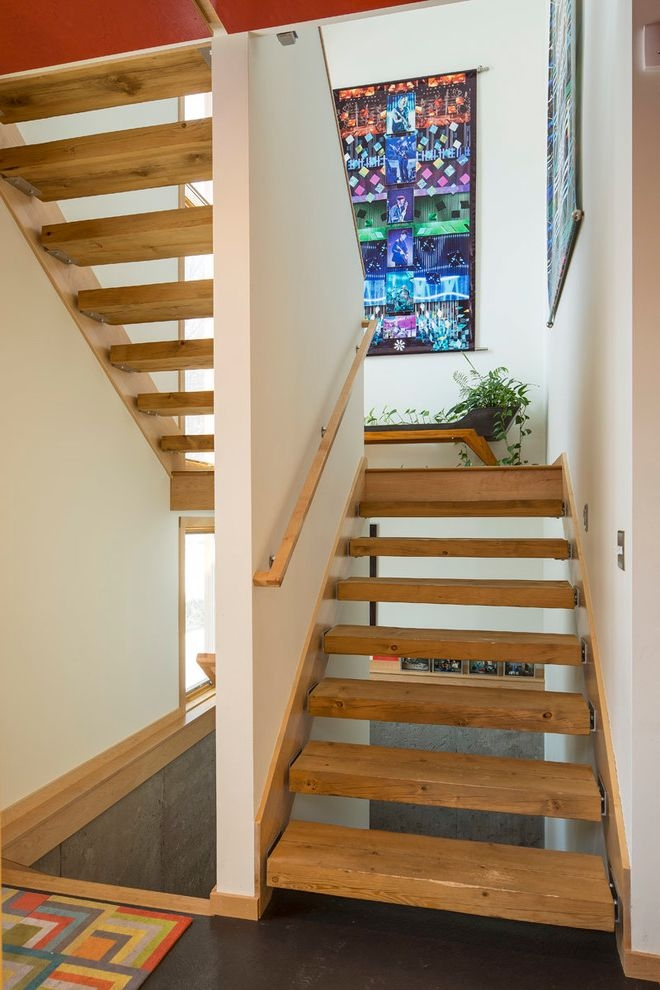 Stair Tread Kit Modern Staircase Also 250 Square Foot Dark Floor | Dark Wood Stair Treads | Timber | White Handrail | Dark Stained | Natural Wood | Wood Finish
