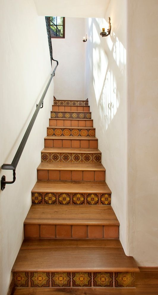 Terracotta Tile Home Depot With Mediterranean Staircase And Metal   Wood Stair Railing Home Depot   Deck   Rail Kit   Porch   Oak Stair   Box Newel Post