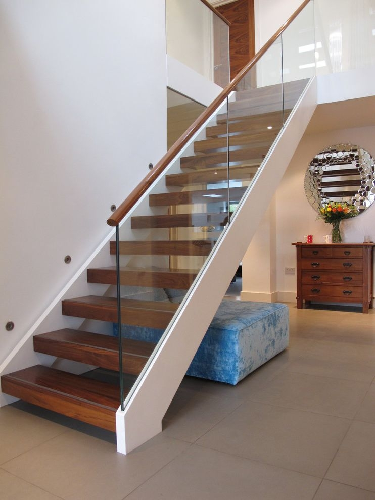 Thick Stair Treads Modern Staircase And Banister Glass Panel | Glass And Oak Banister | Minecraft | Traditional | Stair Case | House | Designer