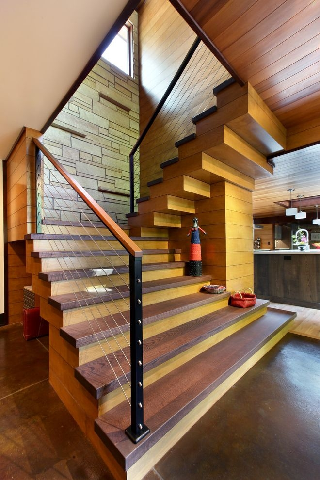 Thick Stair Treads Rustic Staircase And Cable Railing Contemporary | Stair Treads For Wood Stairs | Anti Slip Stair | Stair Nosing | Stair Risers | Hardwood Flooring | Examples Terramai