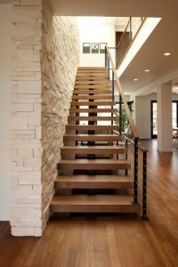 Thick Stair Treads with Modern Staircase and Cable Rail ...