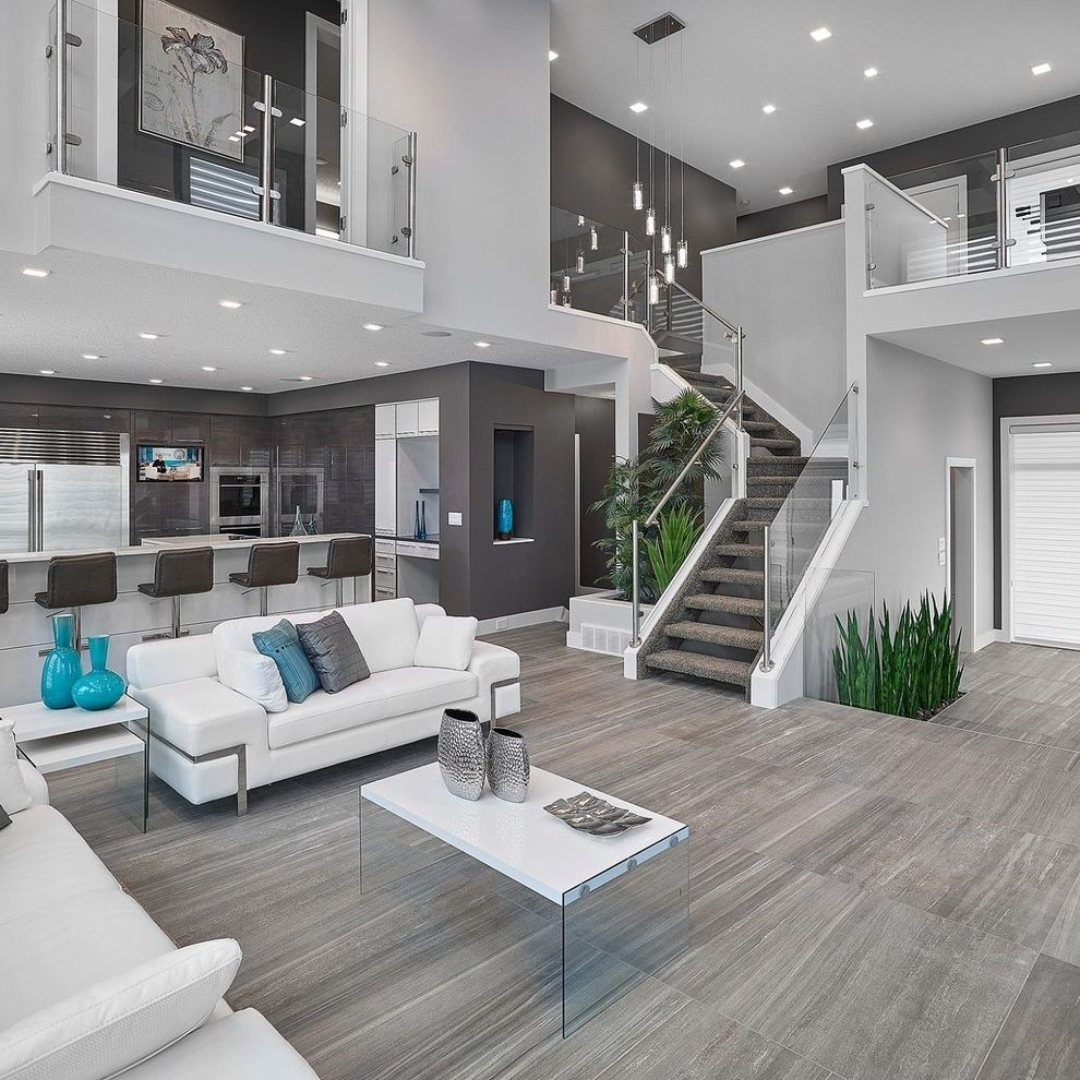 Tile Stores Near Me With Contemporary Living Room And Glass Panel | Glass Staircase Near Me | Baluster | Spiral Staircase Design | Stair Treads | Frameless Glass | Staircase Railings