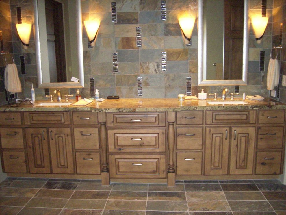 wichita ks theater with traditional bathroom and double sink horizontal lines soft gray tile vanity
