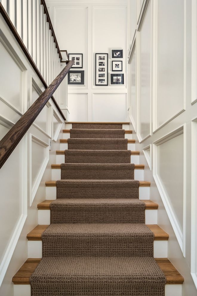 Carpet Runners By The Foot With Traditional Staircase And Black   Traditional Stair Carpet Runners   Bespoke   Patterned   Modern   Stair Landing   Dark Stain