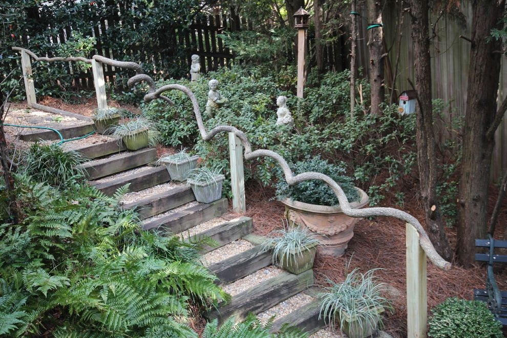 Outside Step Railings Traditional Landscape And Birdhouse Garden   Outdoor Wooden Steps Design   Exterior   Compact Space Outdoor   Railing   Rustic   Storage Underneath