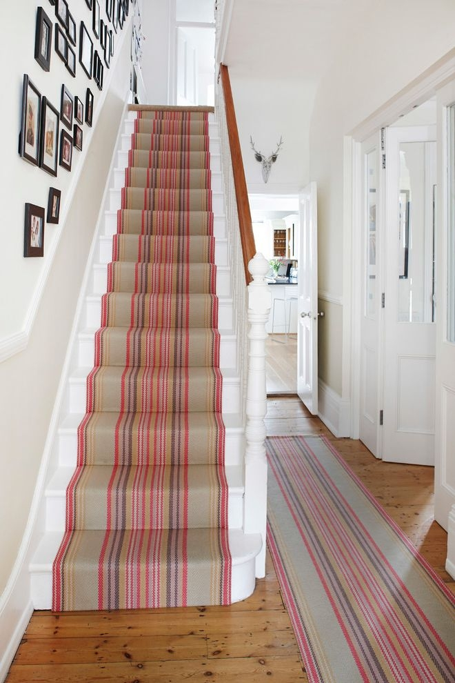 Replacing Carpet On Stairs With Contemporary Staircase Also Black | White Stairs With Carpet | Black | Chic | Victorian Staircase Carpet | Hardwood | Pinstripe Grey