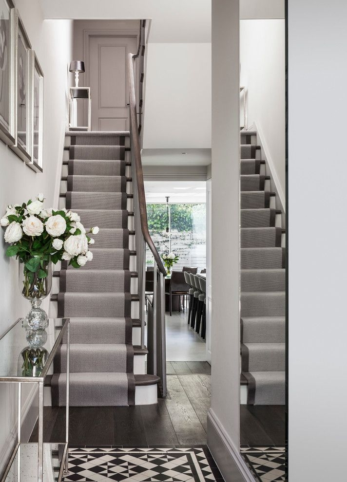 Replacing Carpet On Stairs With Contemporary Staircase And | Dark Carpet On Stairs | Gray | Monochrome | Wall | Modern | Metal Bar On Stair