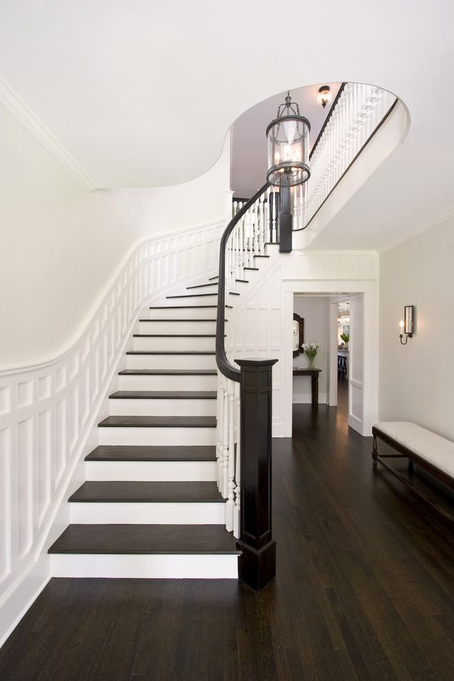 Sanding And Staining Wood Floors With Traditional Staircase And   White And Wood Banister   Stairwell   Gray White   Contemporary   Classic Wood Stair   Colonial