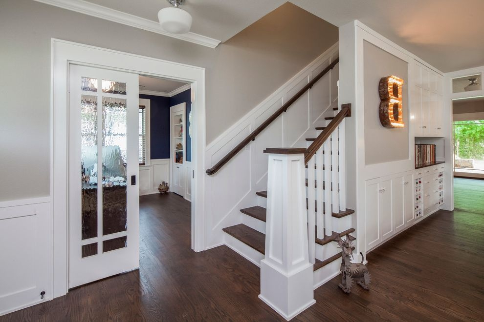 Sherwin Williams Flooring With Traditional Staircase And Addition | Dark Wood Stair Treads | Timber | White Handrail | Dark Stained | Natural Wood | Wood Finish