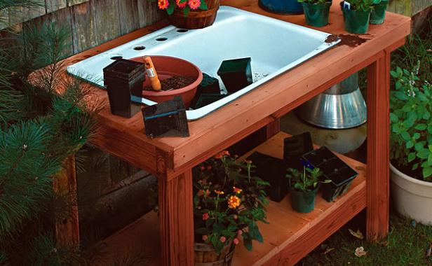a potting table with a twist project