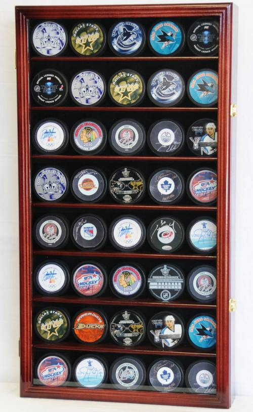 Display Case Hockey 40 Puck Hockey Memorabilia Displays