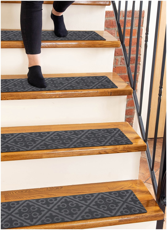 "Carpet Stair Treads Non Slip Gray Embossed – 8""X30"" 15 Pack | Carpet Steps For Stairs | Glitter Carpet | Elegant | Middle Open Concept | Heavy Duty | Gorgeous"