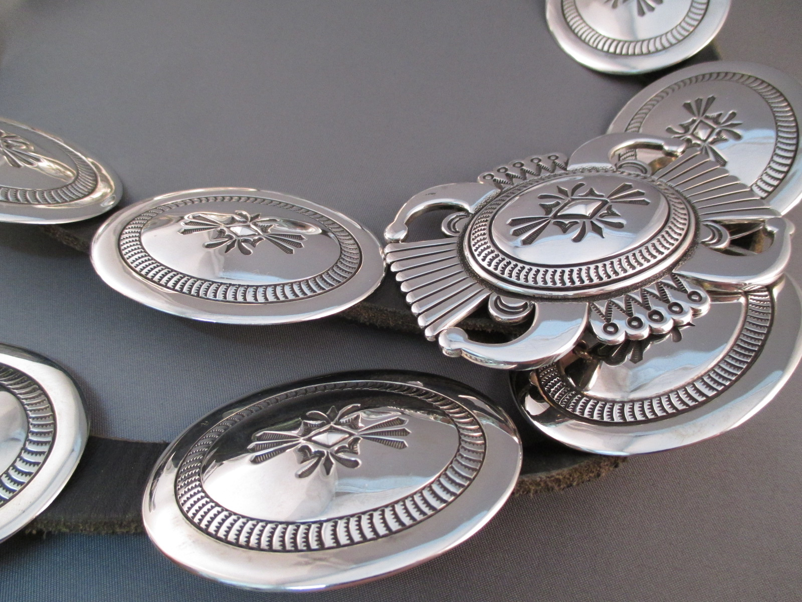 Sterling Silver Concho Belt by Tom Curtis  Two Grey Hills